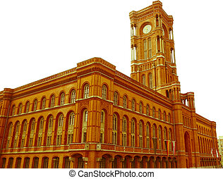 Retro looking Rotes Rathaus, Berlin - Vintage look Rotes...