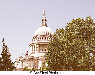 Retro looking St Paul Cathedral in London