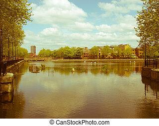 Retro looking Surrey Water, London - Vintage look Surrey...