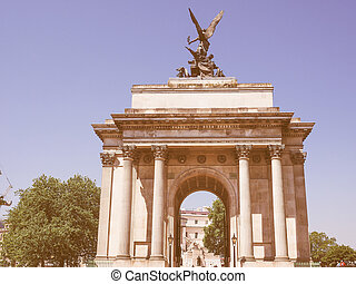 Retro looking Wellington arch in London