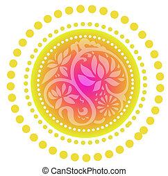 retro lotus pattern - lotus pattern on the red circle ...