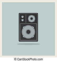 Retro Loudspeaker vector - Retro Loudspeaker on blue ...