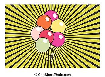 retro, luftballone, hintergrund