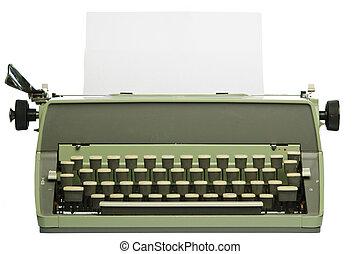 retro, máquina de escribir, con, blanco, papel