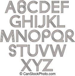 retro mód, alphabet.