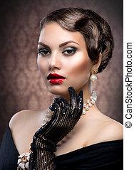 retro mód, portrait., romantikus, beauty., szüret