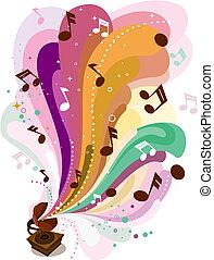 retro, música, desenho