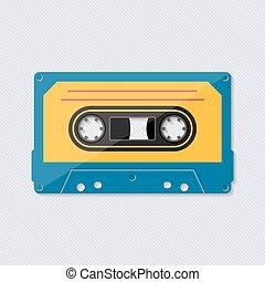 retro, música, fita cassete, ícone