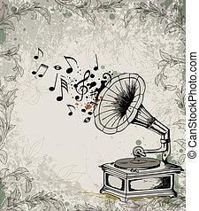 retro, música, fundo