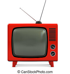retro, műanyag, tv