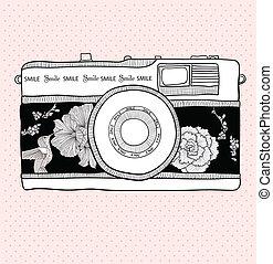 retro, macchina fotografica, con, fiori, e, uccelli