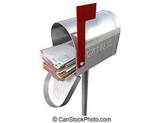 Retro Mail Box And White Envelope Stack