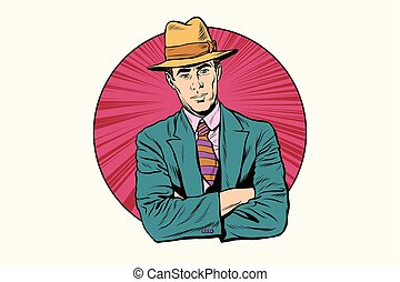 Retro male gentleman in the hat
