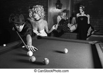 Retro male shooting pool.