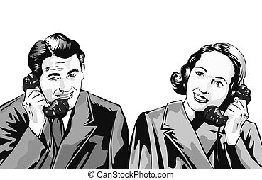 Retro man and woman on phone