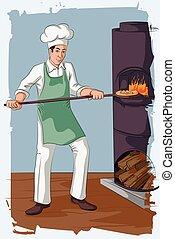 Retro man baking pizza in fire oven