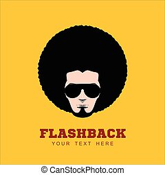 Retro man in 1970s hairstyle.  Frizzy, 70's.