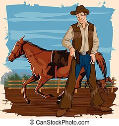Concept of retro man in horse ranch. Vector illustration