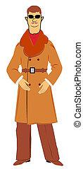 retro man in overcoat