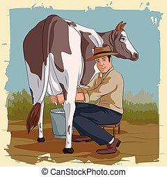 Retro man milking cow