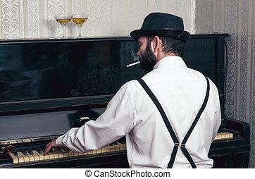 Retro man playing the piano