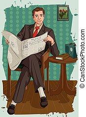 Retro man reading newspaper