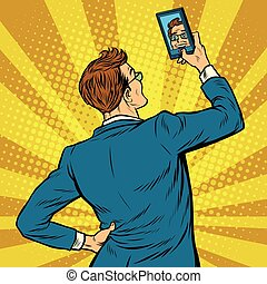 Retro man selfie on smartphone