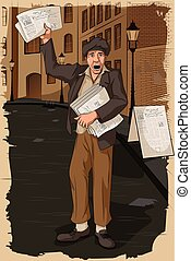 Retro man selling newspaper - Concept of retro man selling ...