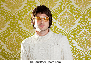 retro man vintage glasses and turtleneck sweater