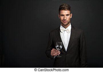 Retro man with a glass