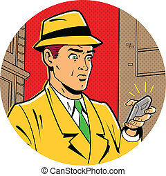 Retro Man With Fedotra and Phone