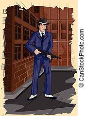 Concept of retro gangster man with gun. Vector illustration