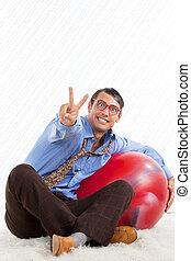 Retro Man with Pilates Ball