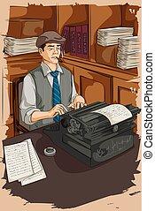 Retro man writing with typewriter - Concept of retro man ...