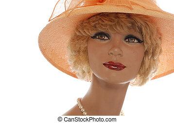 retro mannikin in hat - cute store mannequin in straw hat ...