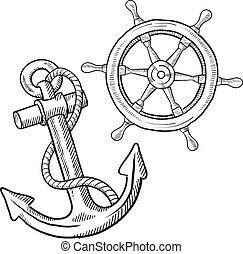 retro, marítimo, objetos, bosquejo