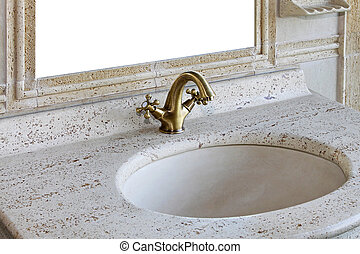 Retro marble sink - Retro style marble sink with brass...