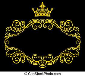 retro, marco, con, corona real