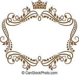 retro, marco, con, corona real, y, flores