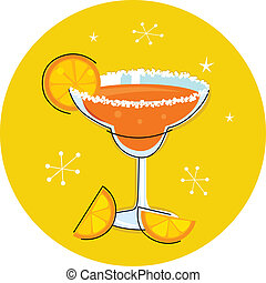 retro, margarita, bebida, o, cóctel, con, fruta cítrica, aislado, en