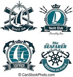 Retro marine and nautical symbols - Yacht club or sailing ...