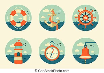 retro marine icons