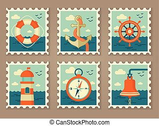 retro marine stamps