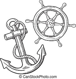 Retro maritime objects sketch - Doodle style ships anchor...