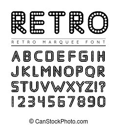 Retro marquee font. illustration on white background