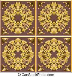 retro, mattonelle pavimento, patern, giallo, e, marrone