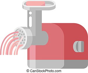 Retro meat grinder front view vector illustration. Classic...