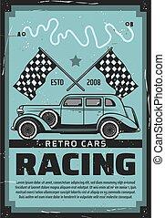 retro, medel, bilar, motor biltävlingar