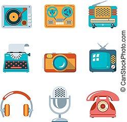 Retro media icons in flat style