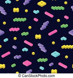 Retro memphis seamless pattern in bright colors. Repeatable background with 3d mosaic geometric shapes.